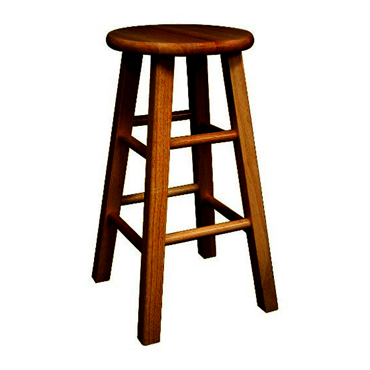 Backless Wooden Bar Stool Image