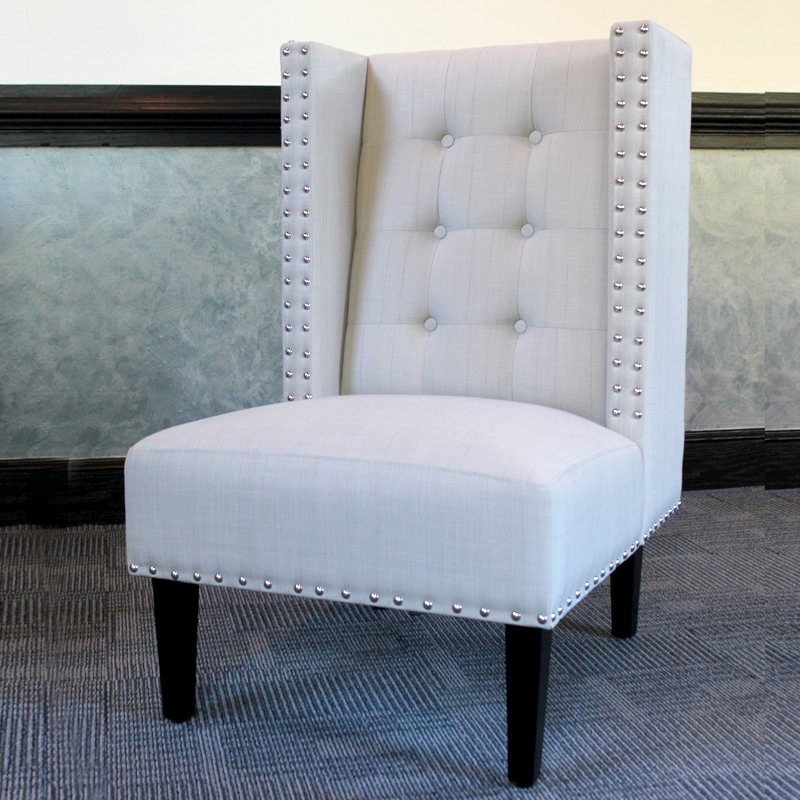 Formal Straight Back Chair - Gray Image