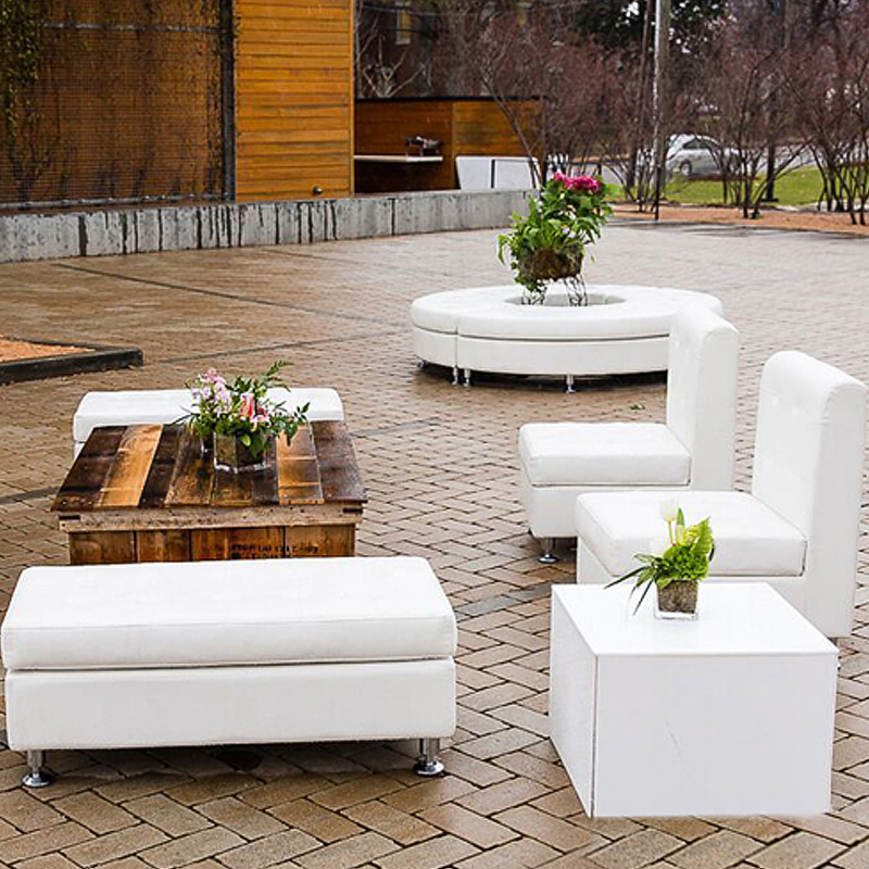 White Leather Chairs with Ottoman Image