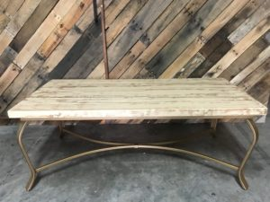 Wood Coffee Table w Gold Base Image